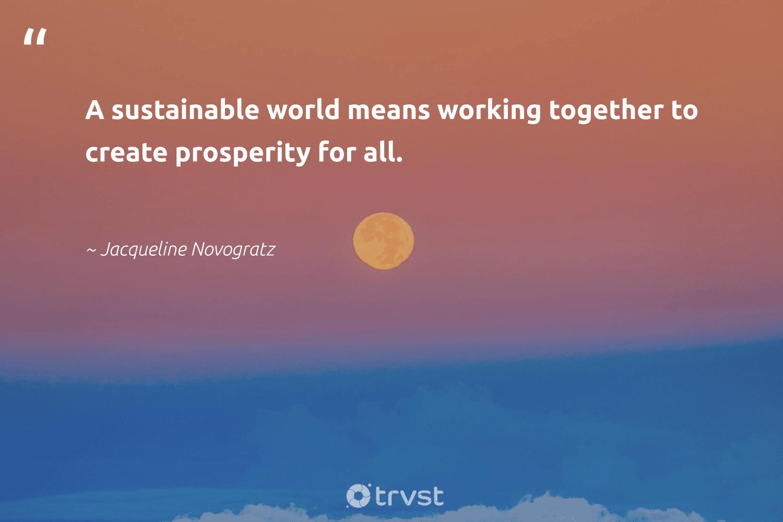 """A sustainable world means working together to create prosperity for all.""  - Jacqueline Novogratz #trvst #quotes #sustainable #workingtogether #ecofriendly #softskills #bethechange #takeaction #sustainability #futureofwork #green #ecoconscious"