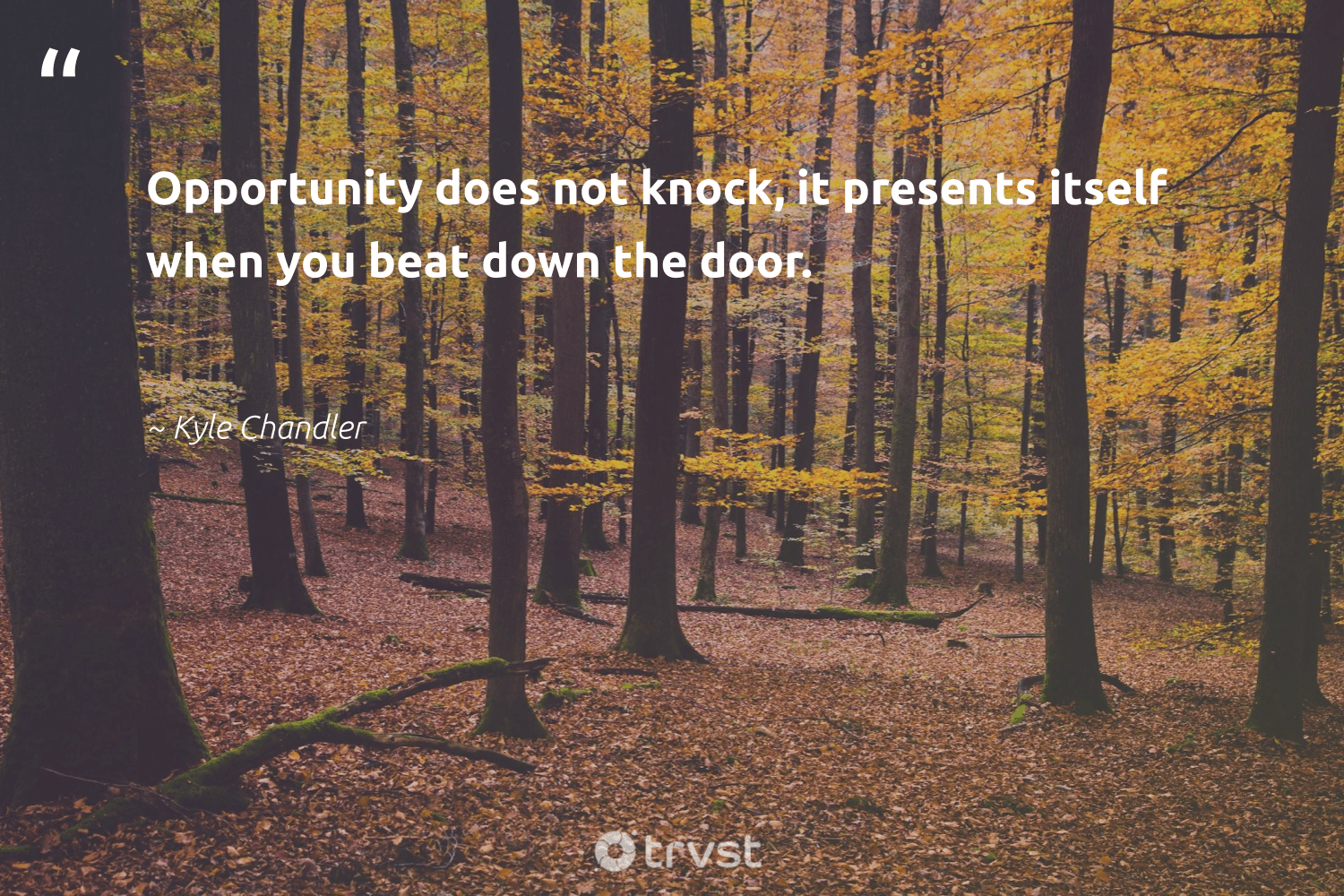 """Opportunity does not knock, it presents itself when you beat down the door.""  - Kyle Chandler #trvst #quotes #nevergiveup #planetearthfirst #softskills #collectiveaction #futureofwork #impact #begreat #dotherightthing #dogood #dosomething"