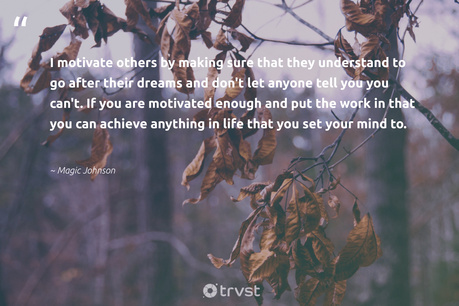 """I motivate others by making sure that they understand to go after their dreams and don't let anyone tell you you can't. If you are motivated enough and put the work in that you can achieve anything in life that you set your mind to.""  - Magic Johnson #trvst #quotes #softskills #collectiveaction #begreat #changetheworld #nevergiveup #dosomething #futureofwork #thinkgreen #dotherightthing #socialimpact"