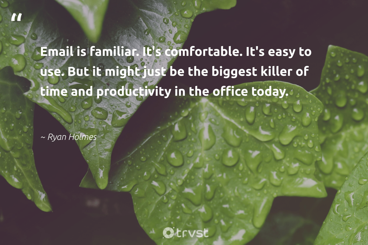 """""""Email is familiar. It's comfortable. It's easy to use. But it might just be the biggest killer of time and productivity in the office today.""""  - Ryan Holmes #trvst #quotes #productivity #goals #nevergiveup #begreat #ecoconscious #productive #futureofwork #softskills #collectiveaction #motivation"""