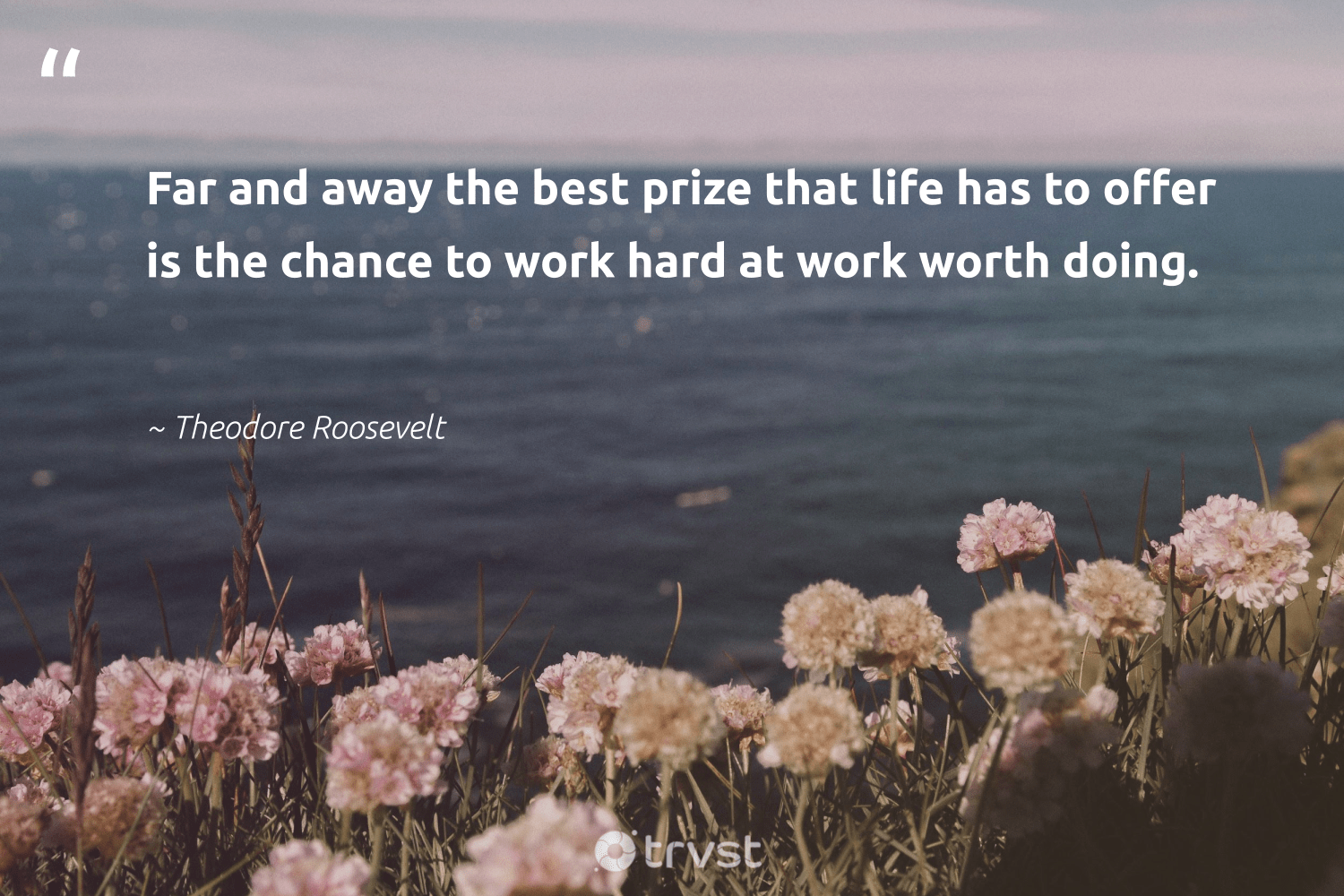 """""""Far and away the best prize that life has to offer is the chance to work hard at work worth doing.""""  - Theodore Roosevelt #trvst #quotes #softskills #collectiveaction #nevergiveup #socialimpact #futureofwork #bethechange #begreat #takeaction #ecoconscious #dogood"""