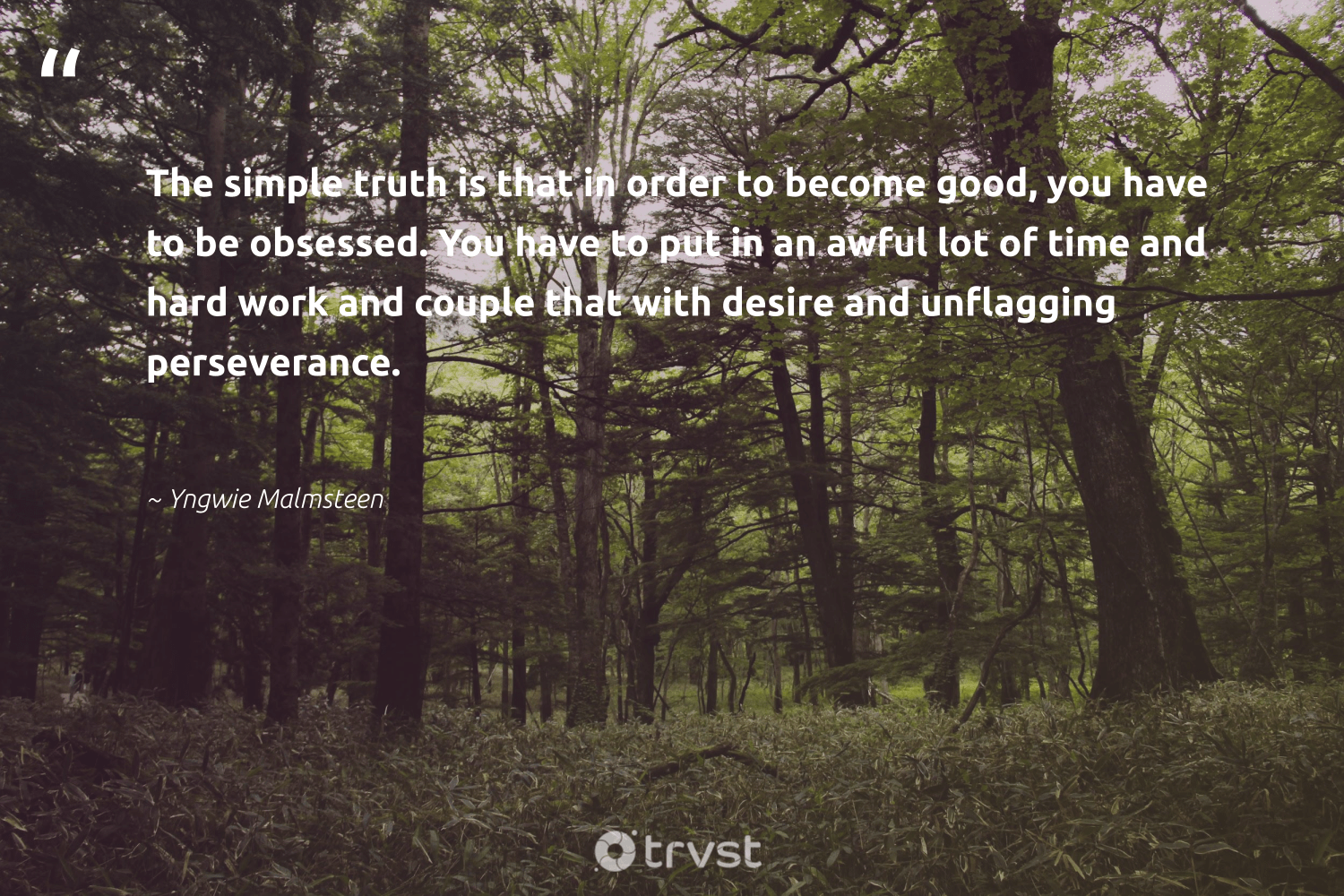 """The simple truth is that in order to become good, you have to be obsessed. You have to put in an awful lot of time and hard work and couple that with desire and unflagging perseverance.""  - Yngwie Malmsteen #trvst #quotes #truth #nevergiveup #dosomething #futureofwork #changetheworld #softskills #dotherightthing #begreat #planetearthfirst #takeaction"