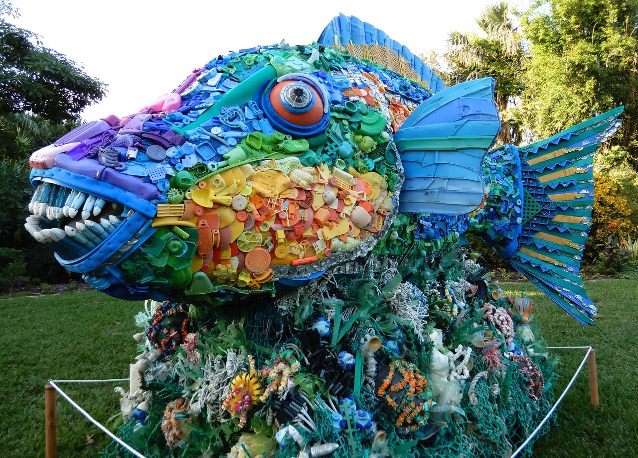 change attitudes on plastic washed ashore trvst recycled art Henry the rock fish