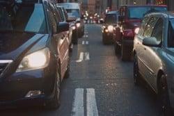 Traffic in a traffic jam. London air pollution. TRVST
