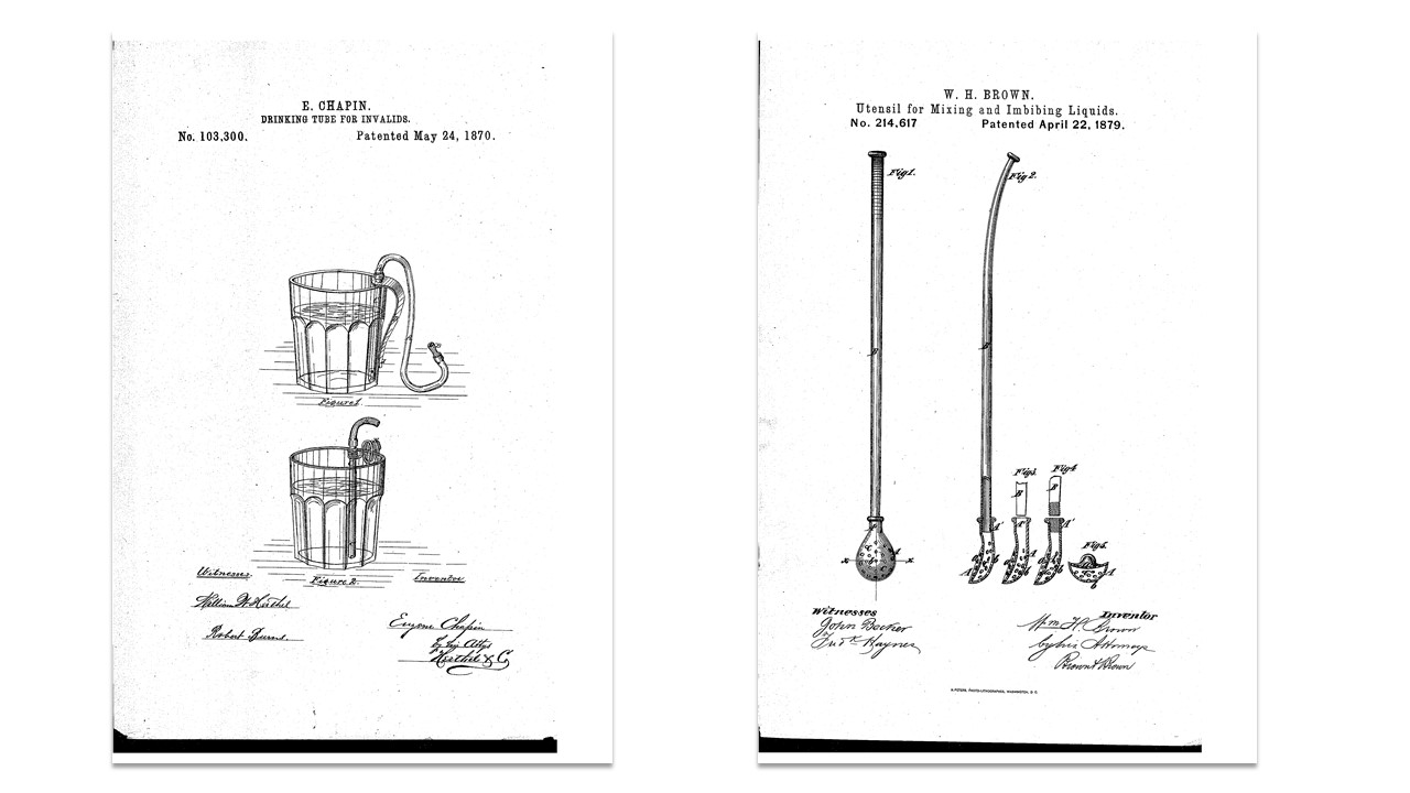 Two early patents and their inventions ref the history of the plastic straw