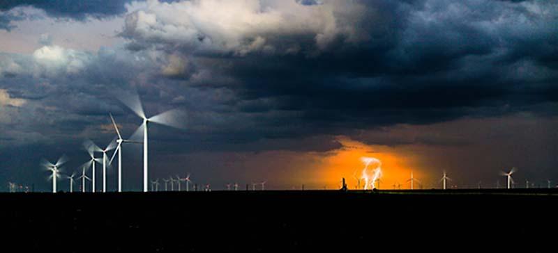Wind Energy Turbines Cloudy Skies