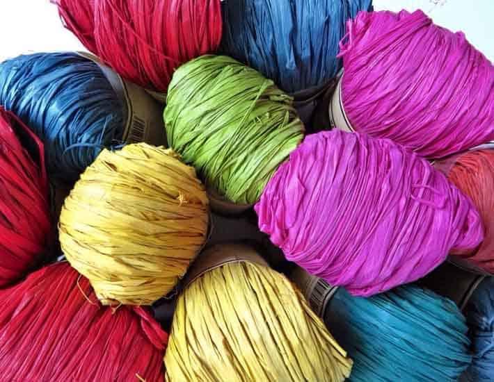 Colourful natural raffia