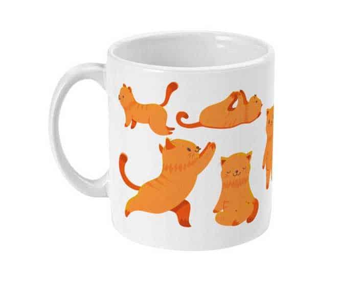Plastic-free yoga cat mug