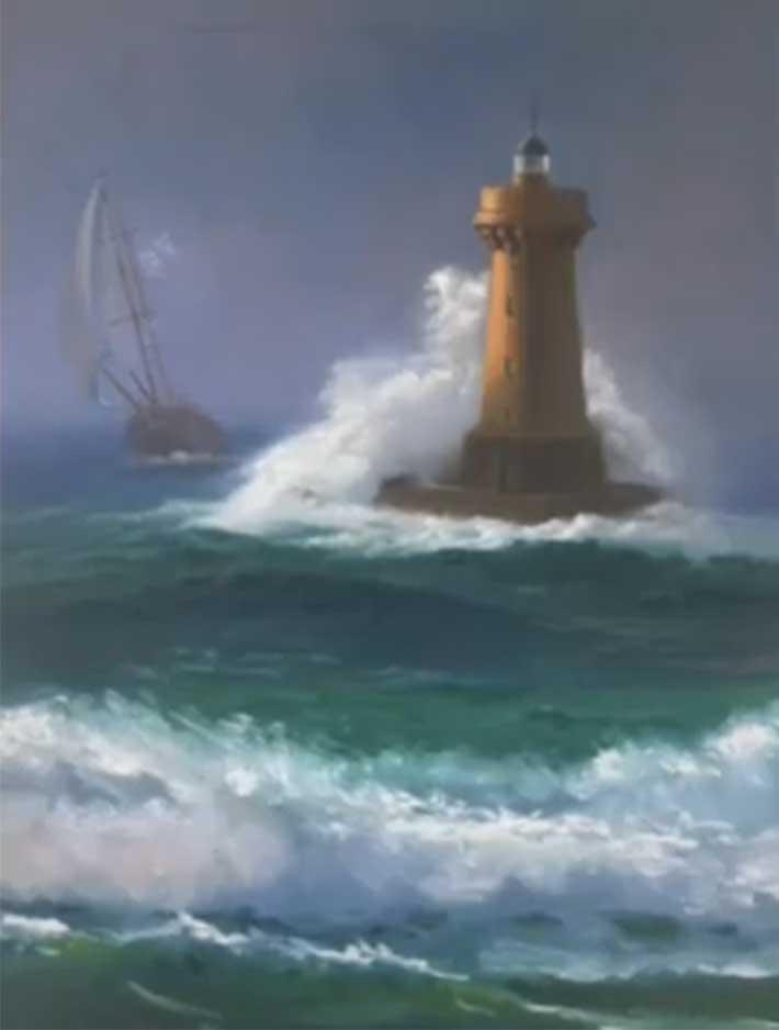 Semine Hazar Lighthouse in a Storm