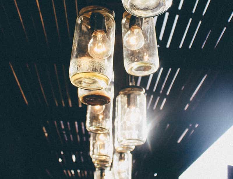 Mason jars used for lights zero waste